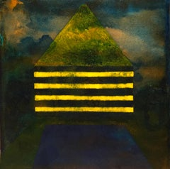 Presence, dark yellow and green surrealistic landscape, architecture painting