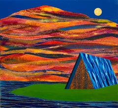 Reach of Horizon, blue house against mountain, painting on wood panel