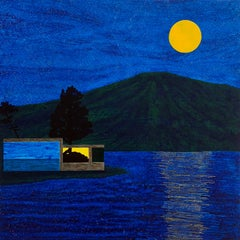 Salt Point, nighttime scene on the water, acrylic on panel
