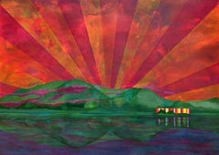 Supernova, surreal painting of house against green mountains and orange sunset