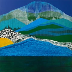 Tarn, blue and green mountain-scape on wood panel