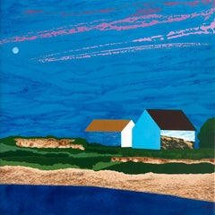 The Day Moon, houses on the shore, blue skies and beach