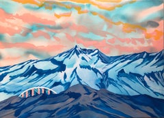 The Zenith Principle, blue and pink mountainscape, work on paper