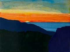 Topanga, bright landscape with orange sunset, painting on wood panel
