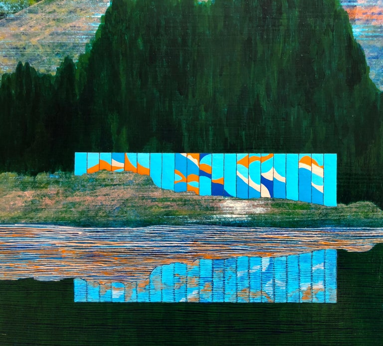 Western Pacific, 2018, acrylic on panel, 20 x 24 inches. Reflected landscape - Contemporary Painting by James Isherwood