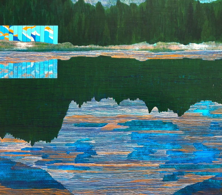 Western Pacific, 2018, acrylic on panel, 20 x 24 inches. Reflected landscape - Blue Landscape Painting by James Isherwood