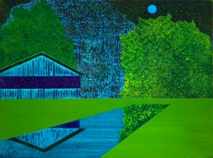 Wishing An Ocean, green and blue landscape on wood panel