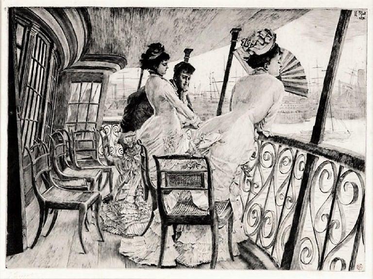 La Galerie du 'Calcutta' (Souvenir d'en Bal à Bord).  - Print by James Jacques Joseph Tissot