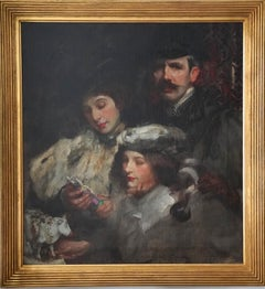 Artist's Family Portrait - British American Impressionist art oil painting