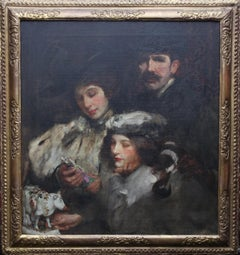 Family Portrait - British American Edwardian Impressionist art rare oil painting