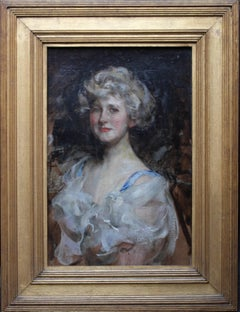 Portrait of a lady - British Edwardian Impressionist art portrait oil painting