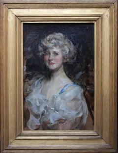Portrait of a lady - British Edwardian Impressionist art portrait oil painting