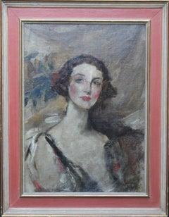 Portrait of a Young Woman - British Edwardian art female portrait oil painting