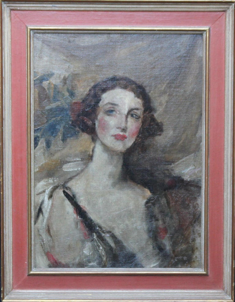 Portrait of a Young Woman - British Edwardian Impressionist art oil painting  For Sale 4