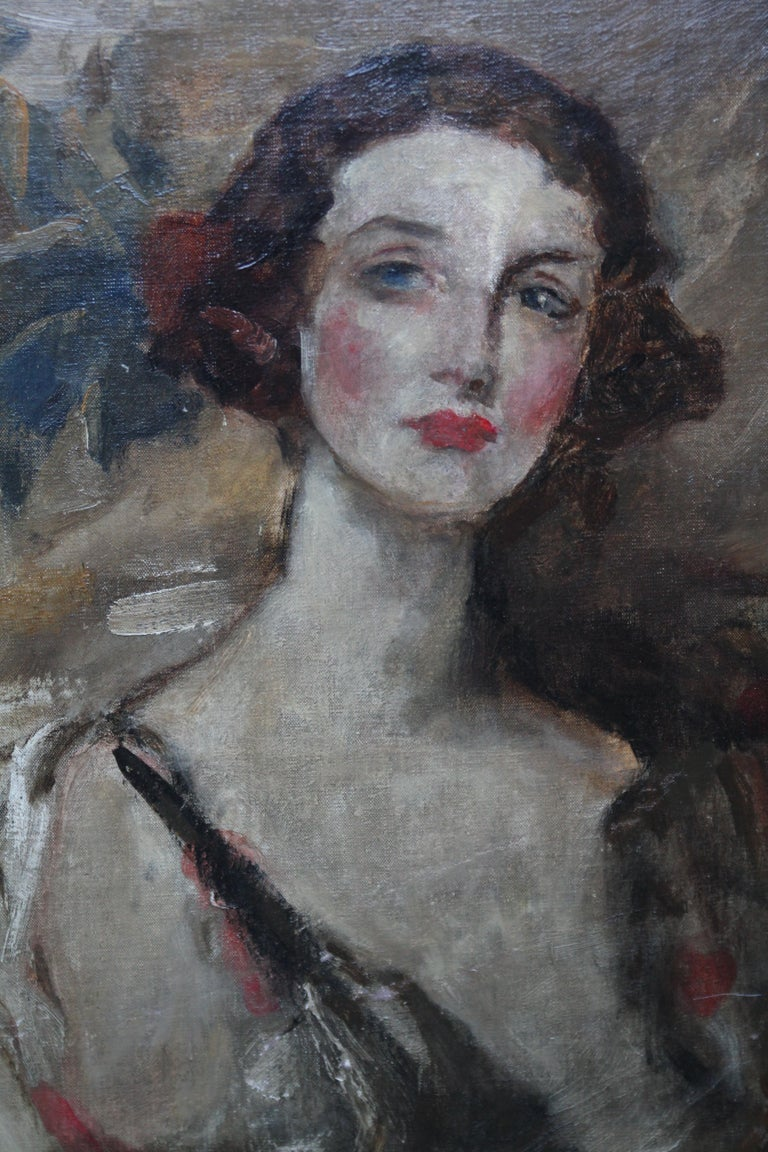 Portrait of a Young Woman - British Edwardian Impressionist art oil painting  For Sale 2