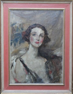 Portrait of a Young Woman - British Edwardian Impressionist art oil painting