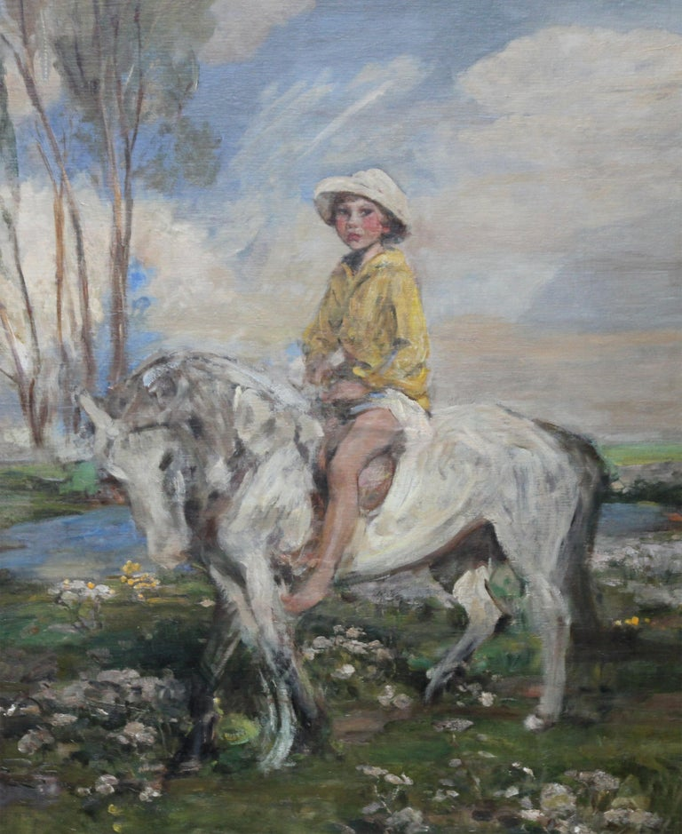 Portrait of Artist's Grandson - Edwardian Impressionist horse art oil painting - Painting by James Jebusa Shannon