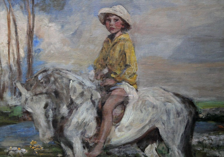 An original large oil on canvas/panel by Sir James Jebusa Shannon. The portrait dates to the Edwardian period and depicts a bold British Impressionist painting of his grandson Jeb Keigwin on a pony. Housed in an ebonised frame of the period. Period
