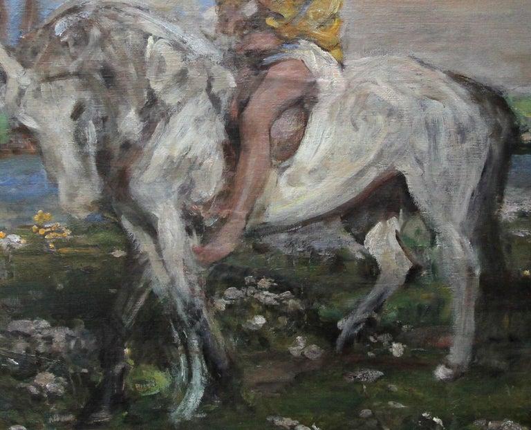 Portrait of Artist's Grandson - Edwardian Impressionist horse art oil painting For Sale 1