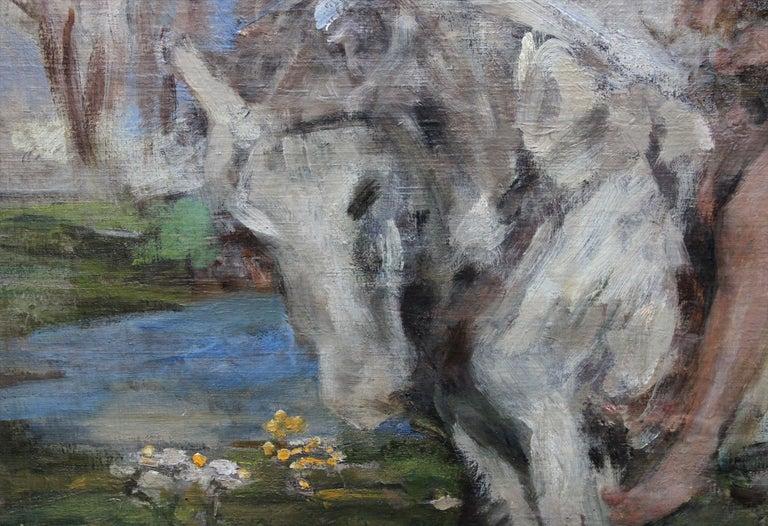 Portrait of Artist's Grandson - Edwardian Impressionist horse art oil painting For Sale 2