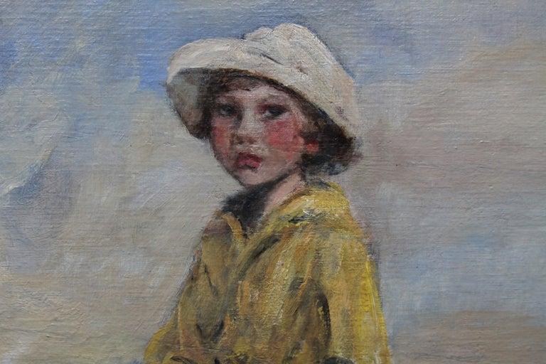 Portrait of Artist's Grandson - Edwardian Impressionist horse art oil painting For Sale 3