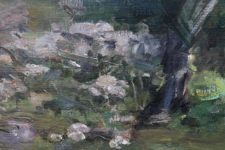 Portrait of Artist's Grandson - Edwardian Impressionist horse art oil painting For Sale 4