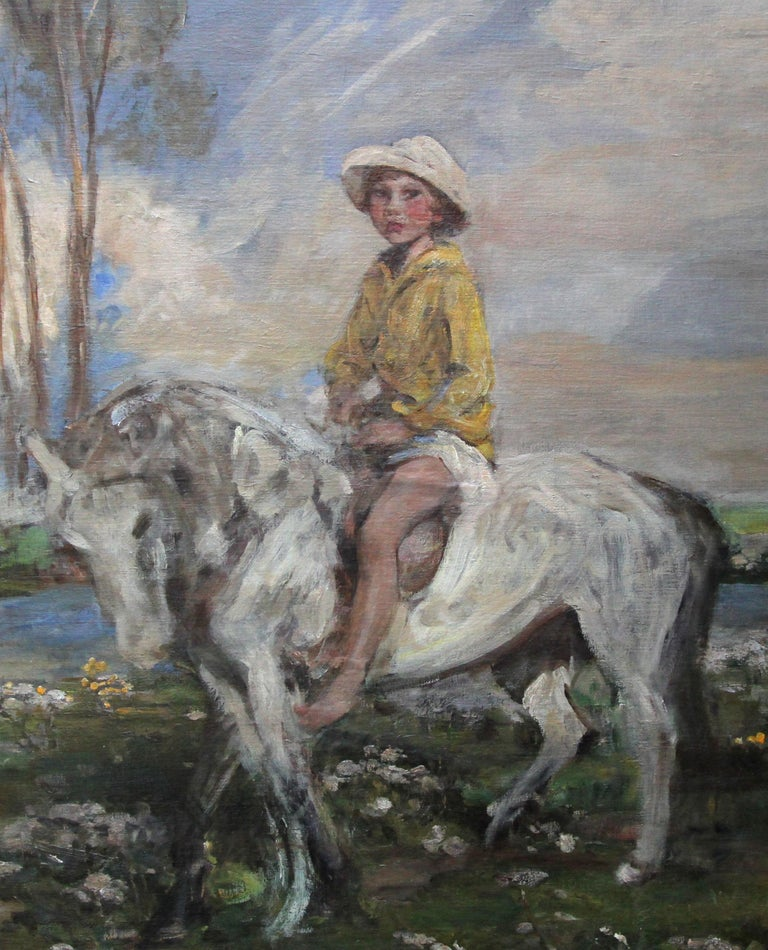 Portrait of Artist's Grandson - Edwardian Impressionist horse art oil painting For Sale 5