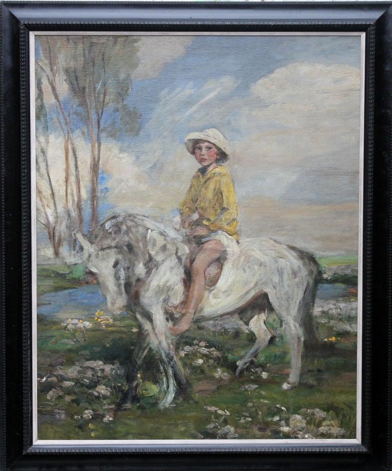 James Jebusa Shannon Portrait Painting - Portrait of Artist's Grandson - Edwardian Impressionist horse art oil painting
