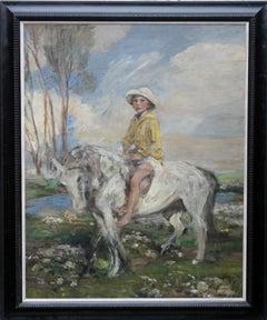 Portrait of Artist's Grandson - Edwardian Impressionist horse art oil painting