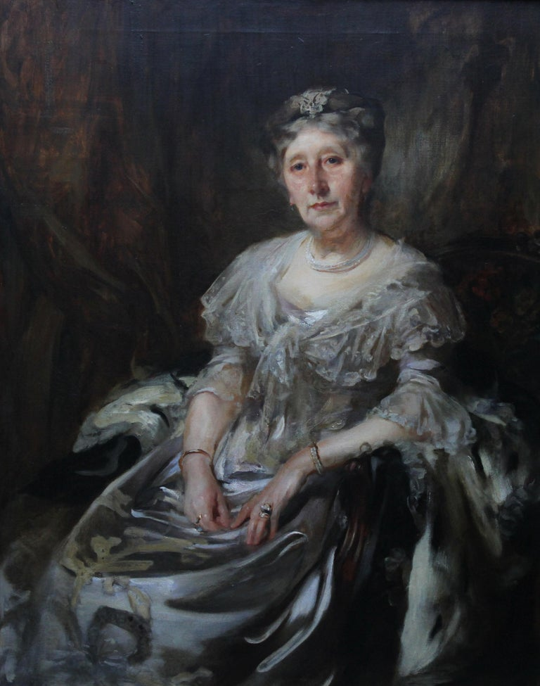 Portrait of Lady Ruthven - Edwardian Society British American art oil painting  For Sale 1