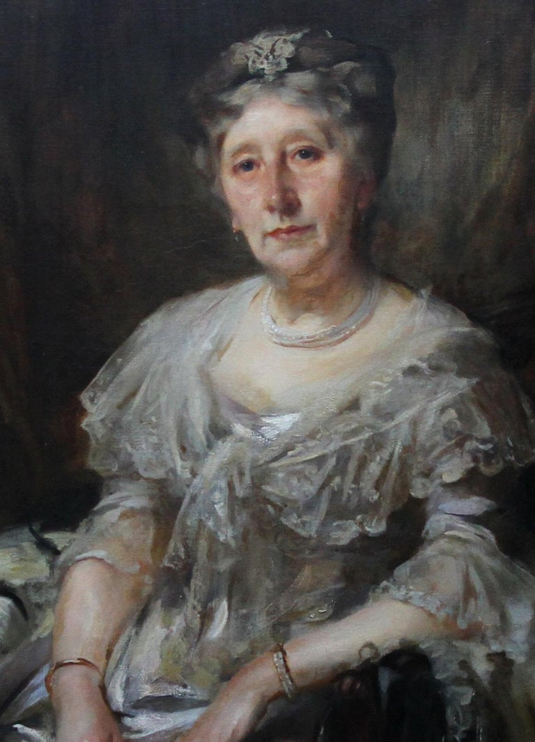 Portrait of Lady Ruthven - Edwardian Society British American art oil painting  For Sale 3