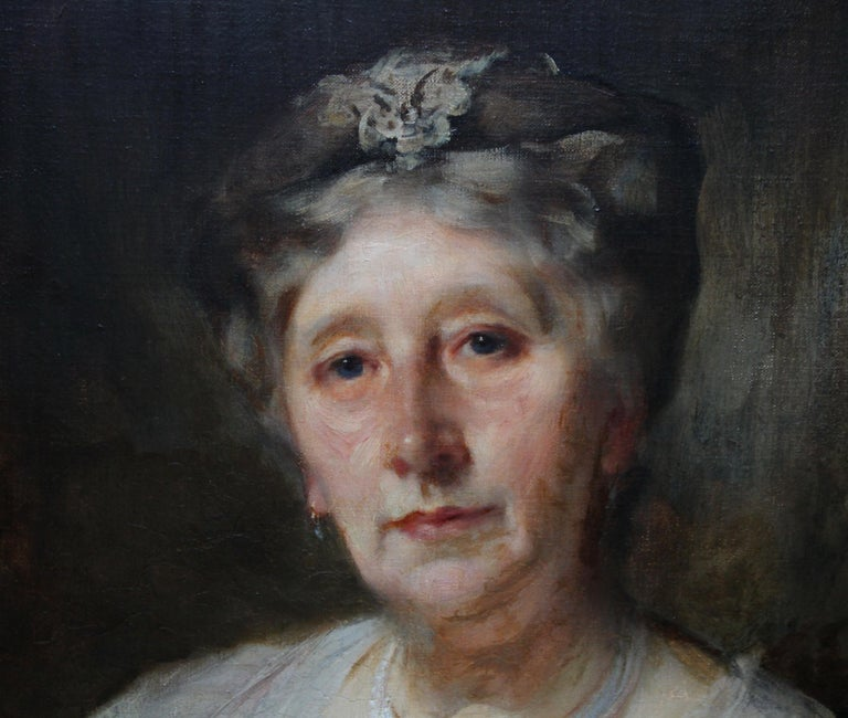 Portrait of Lady Ruthven - Edwardian Society British American art oil painting  For Sale 4