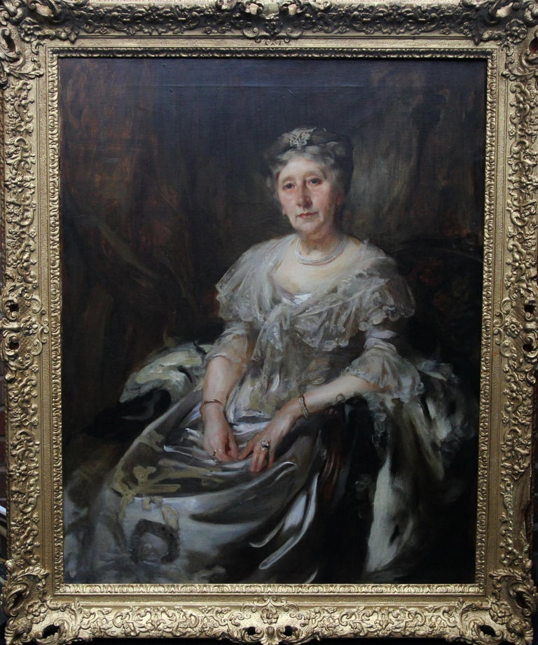 An original oil on canvas by Sir James Jebusa Shannon. The painting depicts Lady Ruthven in ermine. It dates to the Edwardian period and depicts a bold British Impressionist painting of a Society lady. Housed in a stunning gilded early frame, circa