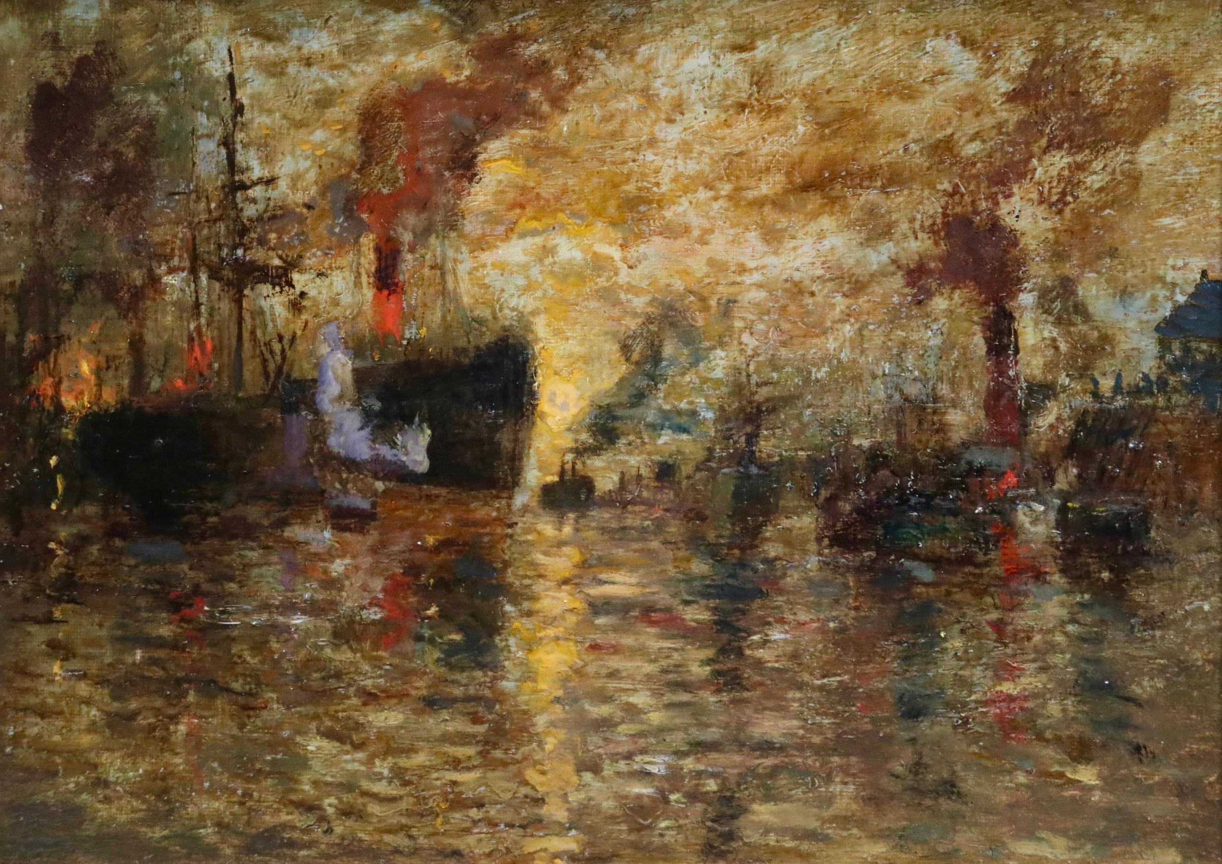Steamers on the Clyde - Sunset - Impressionist Oil, Boats on River by James Kay