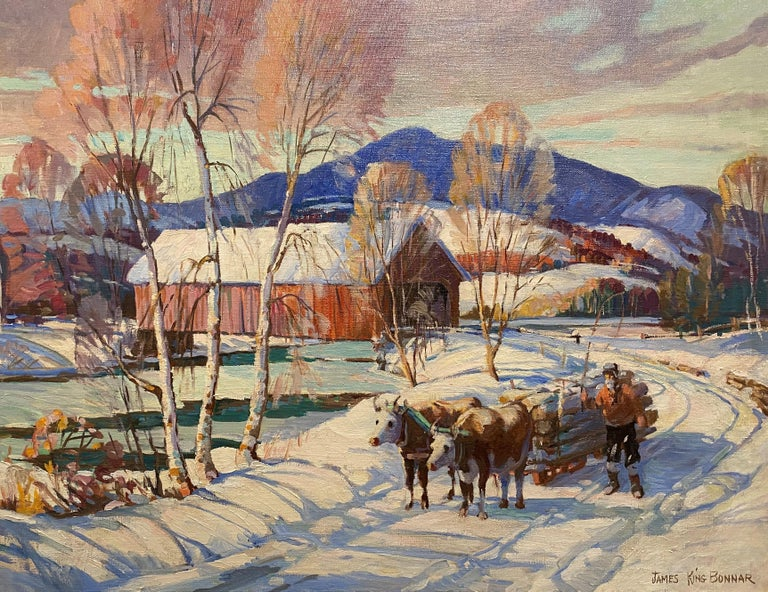Winter Scene With Covered Bridge & Oxen Logging - Painting by James King Bonnar