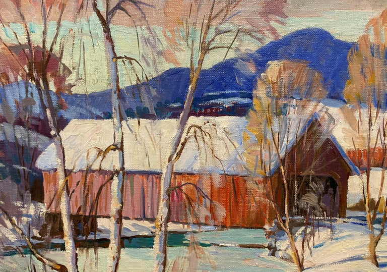 Winter Scene With Covered Bridge & Oxen Logging - American Impressionist Painting by James King Bonnar