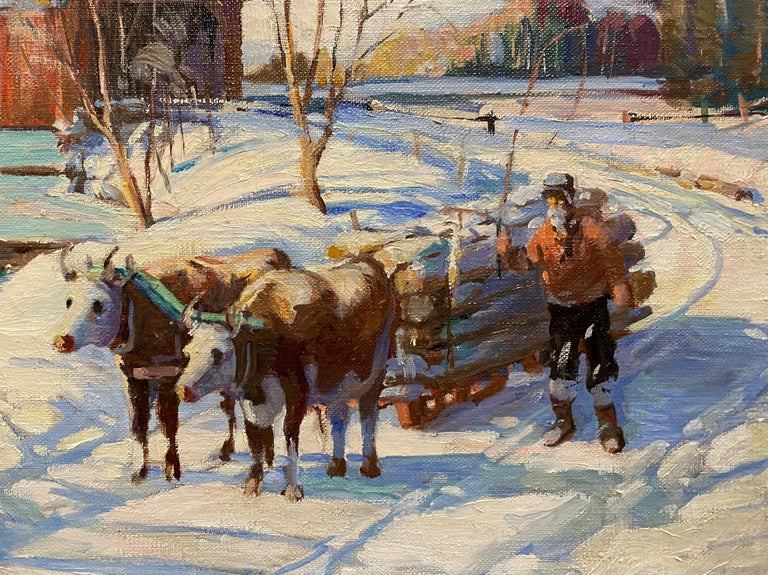 Winter Scene With Covered Bridge & Oxen Logging - Brown Landscape Painting by James King Bonnar