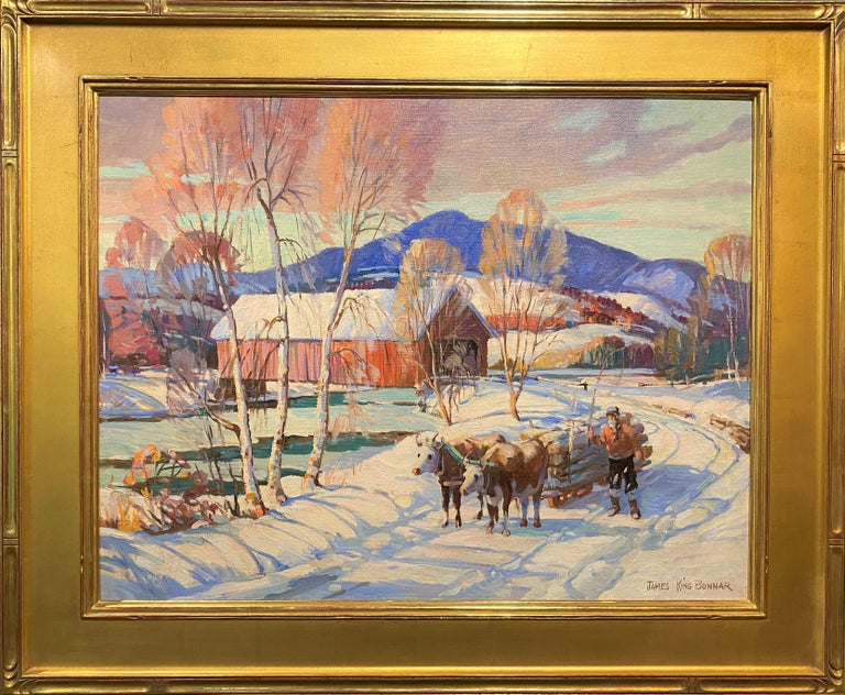James King Bonnar Landscape Painting - Winter Scene With Covered Bridge & Oxen Logging