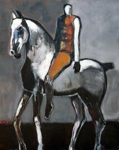Rider on Gray Horse with Ochre