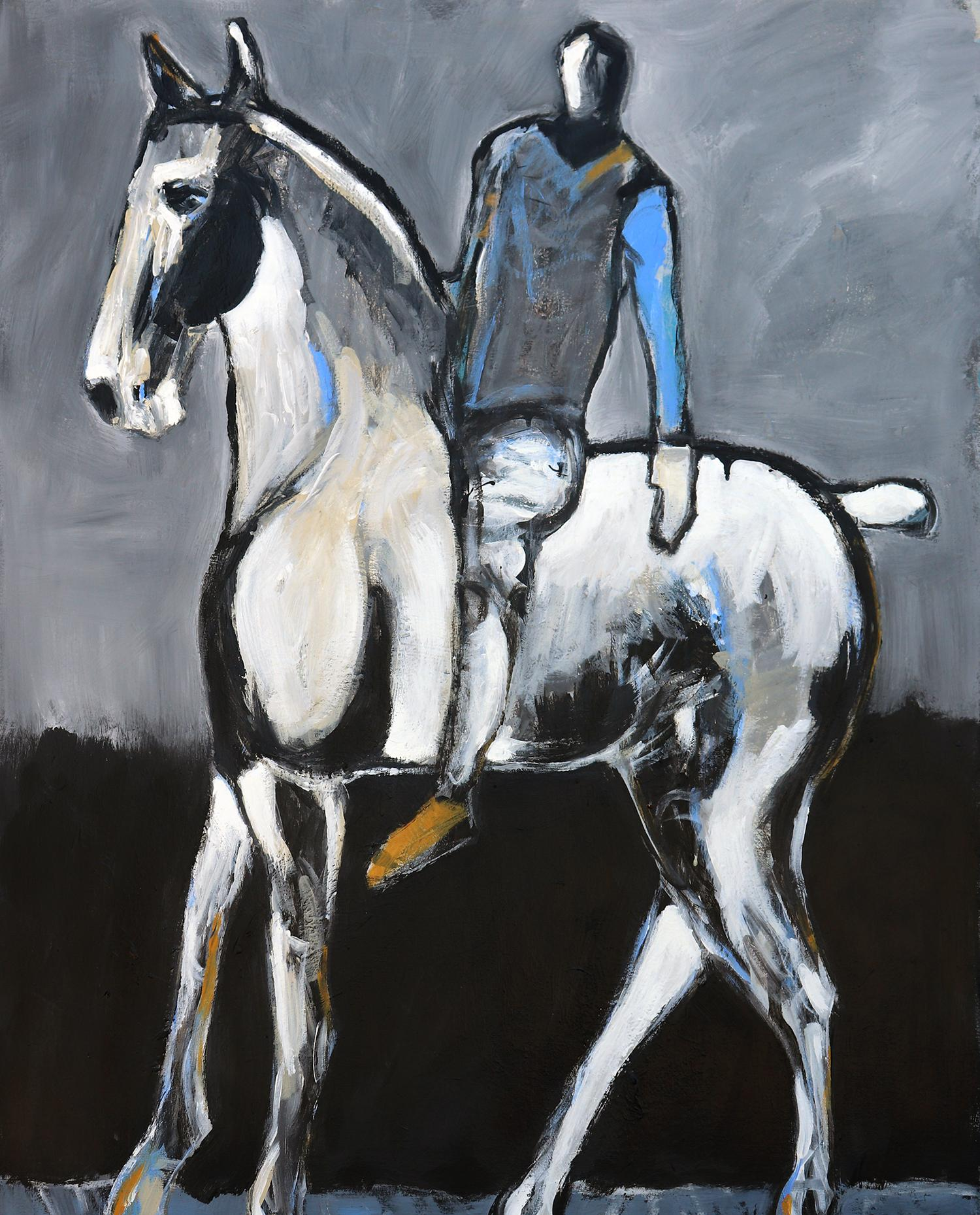 White Horse and Rider with Blue