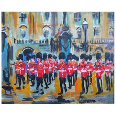 James Lawrence Isherwood, Oil on Board, Guards Band Buckingham Palace