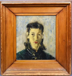 Antique American Modernist Portrait Oil Painting, Young Woman by James Lechay