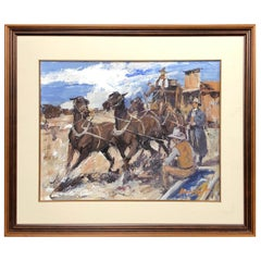 James Lee Colt '1922-2005 Palm Springs' ScenicWestern W/C Gouche, Stagecoach