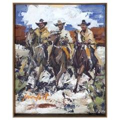 James Lee Colt Western Scene W/C Gouche, Cowboys