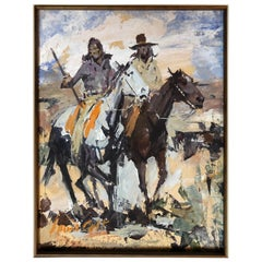 James Lee Colt '1922-2005 Palm Springs' Western W/C Gouache Image of Two Cowboys