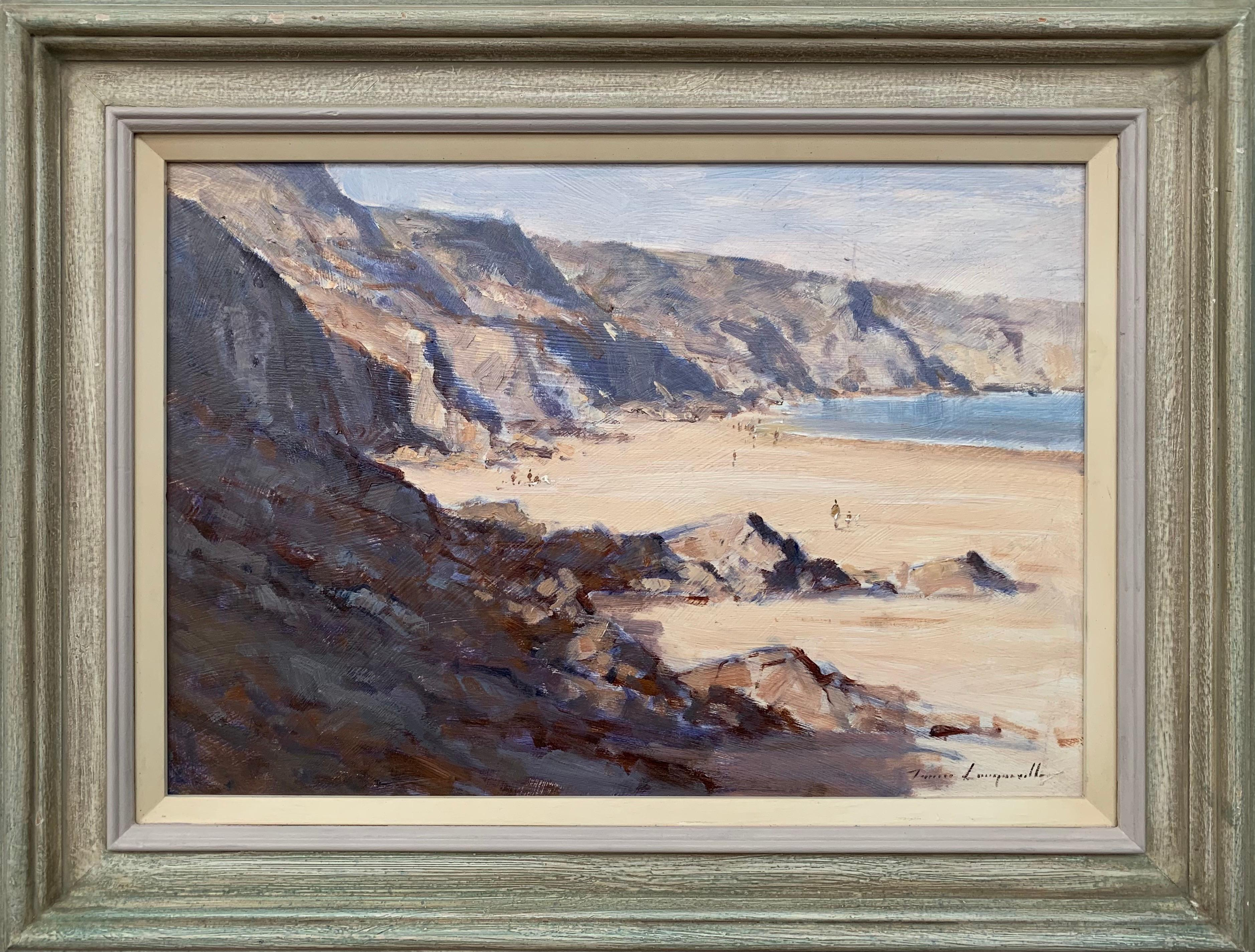 Landscape Seascape Painting of The Little Bay in Jersey by British Artist
