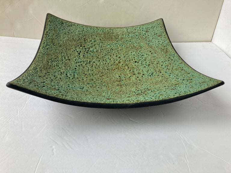 Modern James Lovera Monumental Centerpiece Pottery / Footed Bow, Lava/ Volcanic Glaze For Sale