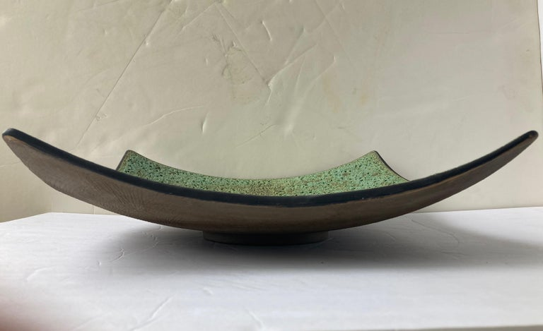 American James Lovera Monumental Centerpiece Pottery / Footed Bow, Lava/ Volcanic Glaze For Sale