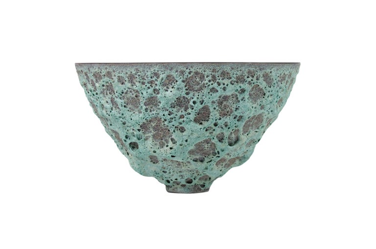 James Lovera large Studio Pottery bowl with deeply textured seafoam green lava glaze. Signed.