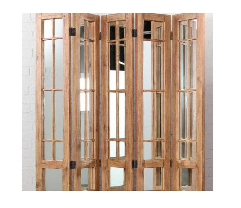 James Lumsden rustic designer five-panel mirrored room divider floor screen.